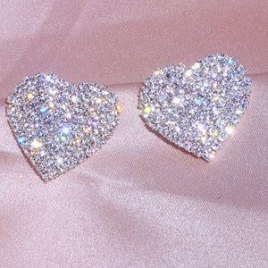 Heart Austrian crystals earrings STUNNING Silver